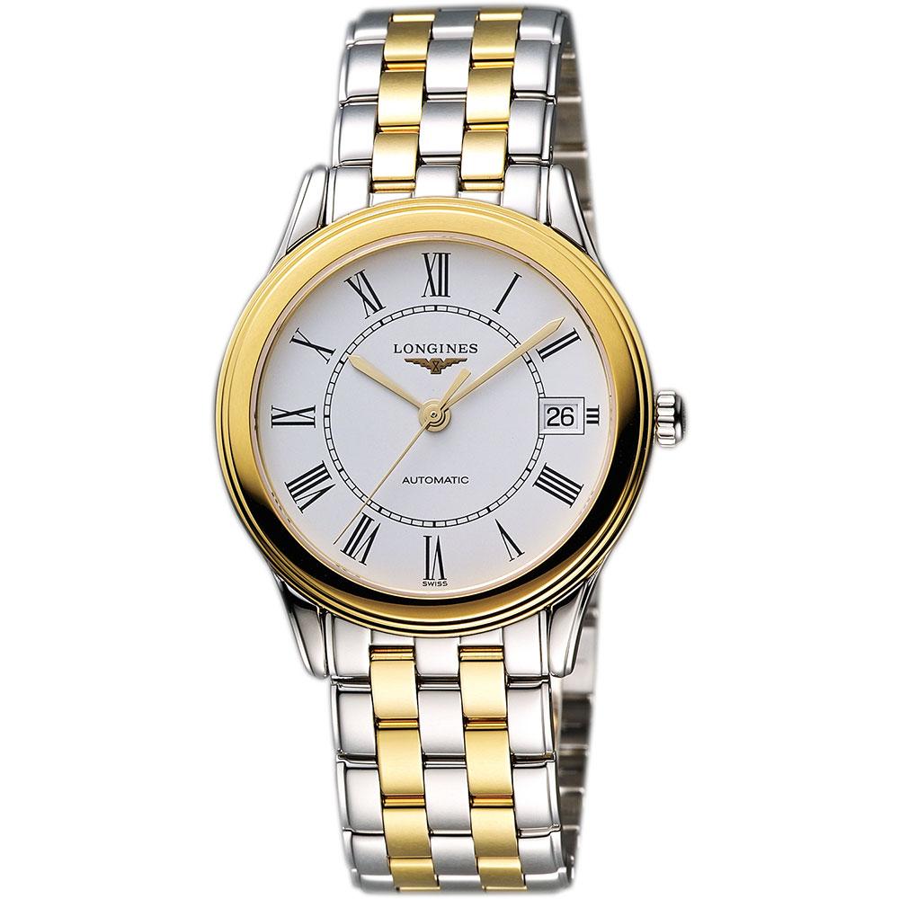 LONGINES Flagship 經典純粹機械腕錶-白x雙色版/35.6mm