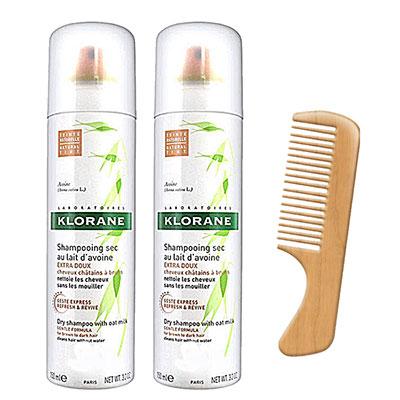 KLORANE蔻蘿蘭 控油澎鬆乾洗髮150ml(二入特惠組)加贈輕巧木梳及頭皮按摩梳