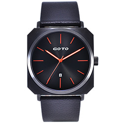 GOTO 復刻運動風方形時尚手錶-IP黑x桔/44mm