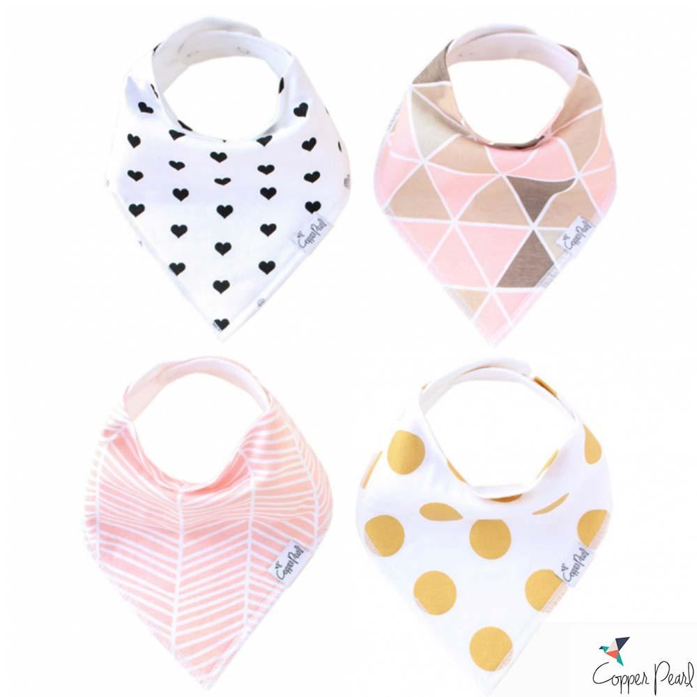 Copper Pearl 美國 粉嫩魔法雙面領巾圍兜口水巾4件組