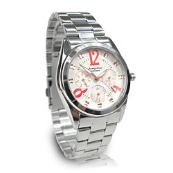 Arseprince 方刻晶鑽時尚三眼中性錶-白紅28mm