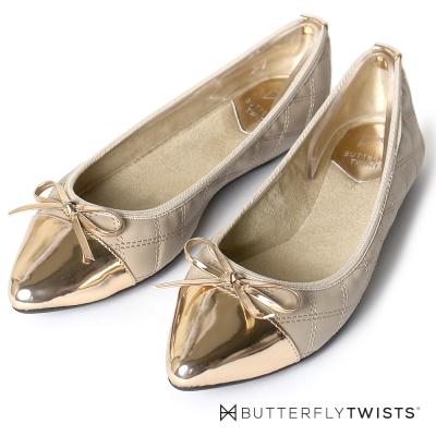 BUTTERFLY TWISTS-尖楦菱格紋蝴蝶結記憶軟墊平底鞋-裸色