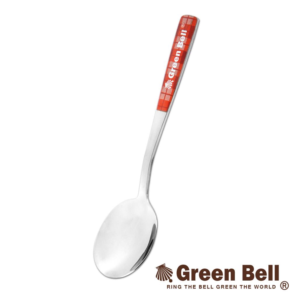GREEN BELL綠貝304不鏽鋼格紋湯匙(紅)