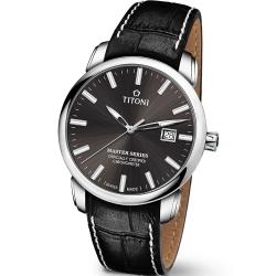 TITONI瑞士梅花錶 大師系列(83188 S-ST-576)-晶炭灰/41mm