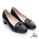 A.S.O 優雅美型 壓紋真皮飾釦樂福中跟鞋 黑色
