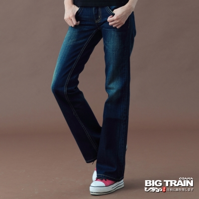 BIG TRAIN-女款 街頭貼標繡花寬褲-深藍