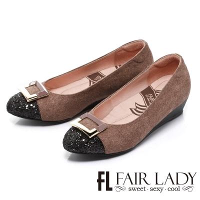 Fair Lady 氣質派飾扣毛呢拼色楔型鞋 芋粉