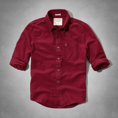 AF a&f Abercrombie & Fitch 長袖 襯衫 紅色 0140