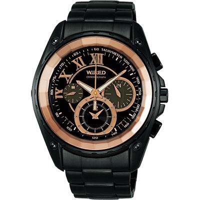 WIRED 鋼鐵假面計時腕錶(AGAV759)-玫瑰金/IP黑/42mm