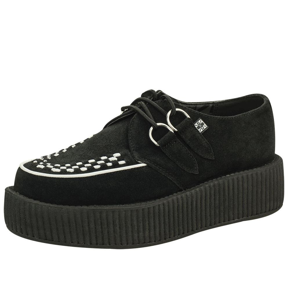 TUK VIVA輕量麂皮白飾線龐克鞋-5CM-黑