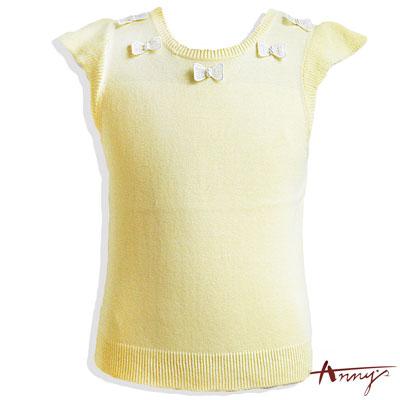 毛線蝴蝶結領荷葉袖短版上衣*4184黃
