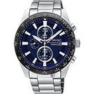 SEIKO精工 Criteria 太陽能計時碼錶(SSC647P1)-藍x銀/43mm