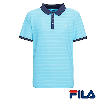FILA男仕抗UV POLO衫(運動藍)1POR-1011-BU