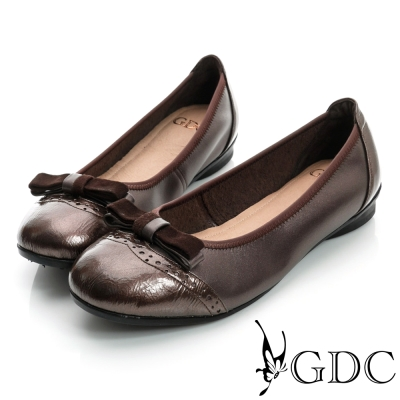 GDC都會-絨布蝴蝶牛津彈性真皮低跟鞋-咖啡色