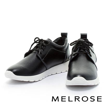 休閒鞋-MELROSE-純色綁帶牛皮厚底休閒鞋-黑