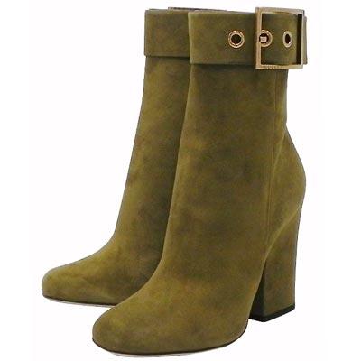 GUCCI 綠色麂皮時尚高跟短靴-38.5號