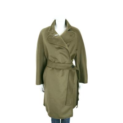 Max Mara-SPORTMAX 綠色側釦綁帶羊毛大衣(100%WOOL)