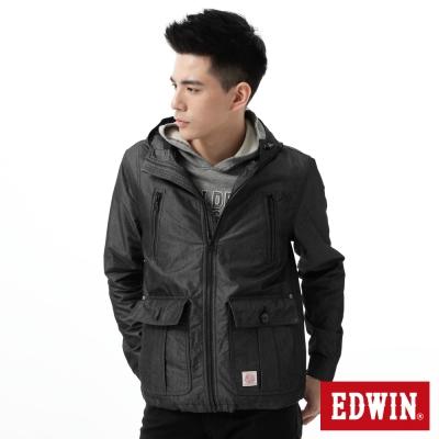 EDWIN-外套-拼接單層風衣外套-男-黑色