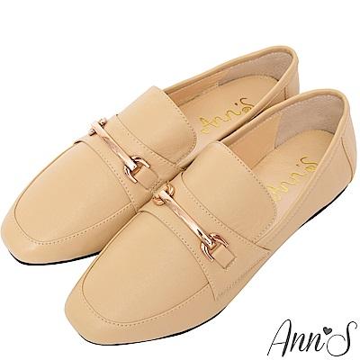 Ann'S成熟日子-金屬扣飾真皮柔軟綿羊皮紳士平底鞋-杏