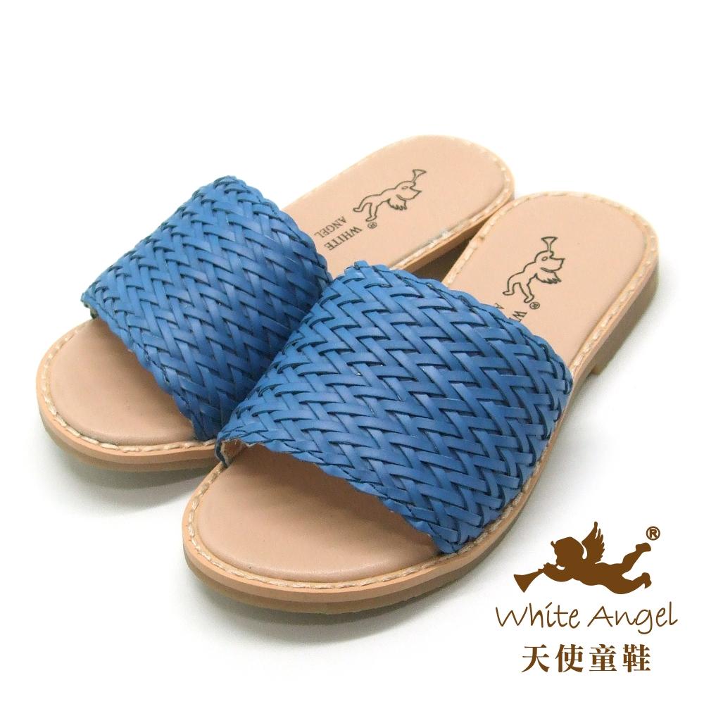 天使童鞋-C2420 編織造型拖鞋 (中童)-藍