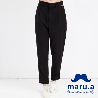 maru-a麻洛野-LOGO吊牌裝飾打摺老爺褲-黑色