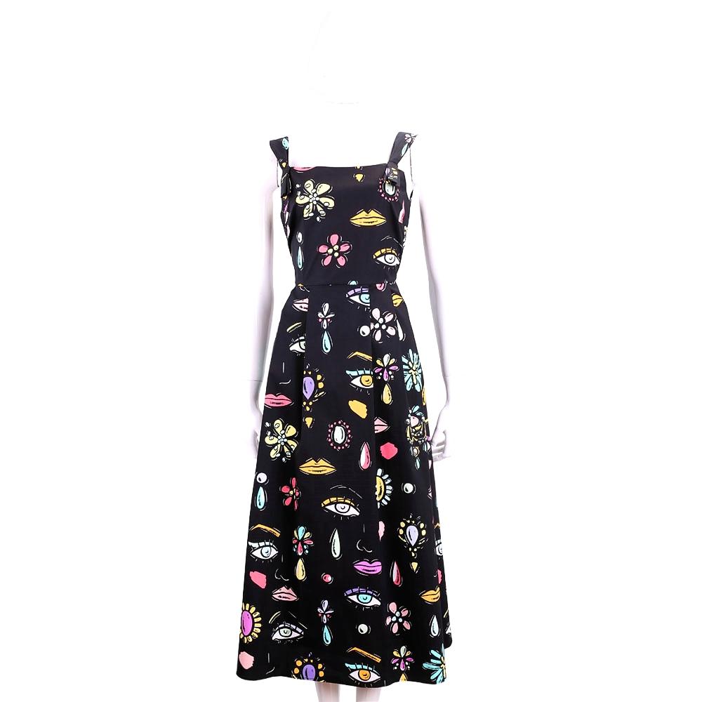 BOUTIQUE MOSCHINO 黑色創意多彩印花無袖洋裝(98%COTTON)