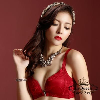 內衣  刺繡前釦無鋼圈蠶絲內襯成套內衣-紅 La Queen