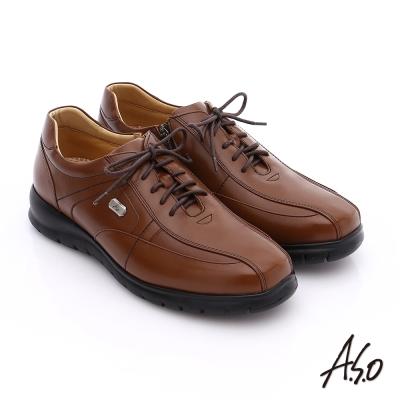 A.S.O 挺力氣墊 油感牛皮綁帶側拉鍊奈米氣墊皮鞋 茶