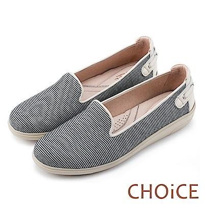 CHOiCE 渡假休閒 牛仔布休閒平底鞋-條紋米