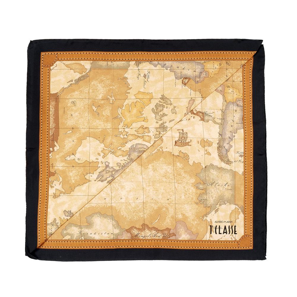 Alviero Martini 義大利地圖 經典地圖邊框配色方巾-黑(90X90)