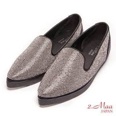 2.Maa-時尚尖頭閃耀水鑽包鞋-黑