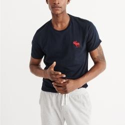 A&F 經典刺繡大麋鹿圓領素色短袖T恤-深藍色 AF Abercrombie