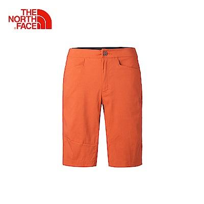 The North Face北面男款橙色舒適防潑水戶外運動短褲