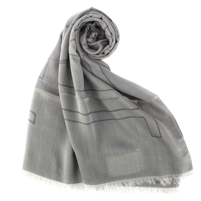 ARMANI COLLEZIONI 經典大字母LOGO流蘇披肩圍巾-灰色