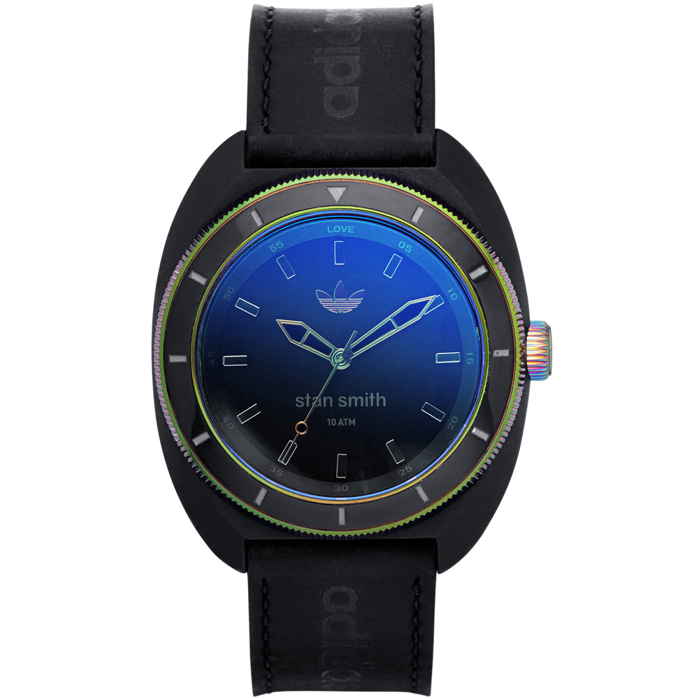 adidas石油危機簡約皮革腕錶-藍紫炫彩42mm
