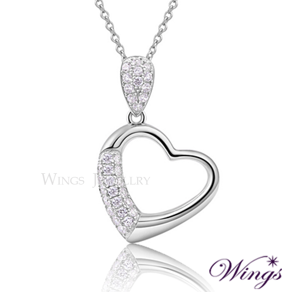 Wings 925純銀精鍍白K金 愛綿延 進口頂級方晶鋯石擬真鑽項鍊