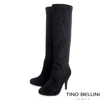Tino Bellini 魅惑迷情蕾絲高跟長靴_黑