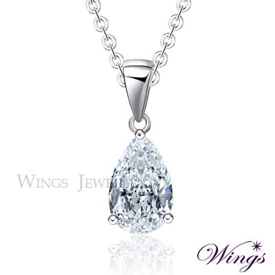 Wings 璀璨寶石 極簡水滴鑽 單顆鋯石項鍊