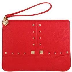 JUICY COUTURE 紅色皮革壓紋手拿包