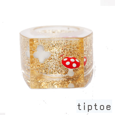 tiptoe by e.m. 金沙亮片蝴蝶小香菇 壓克力戒指(GOLD)