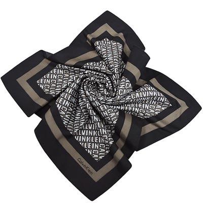 Calvin Klein 咖啡色LOGO字樣造型絲巾