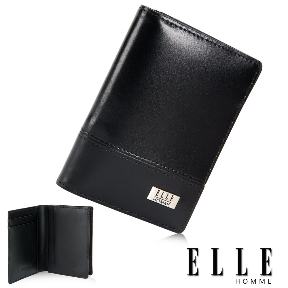 ELLE HOMME法式精品名片夾 專屬零錢收納/夾證件/名片格層設計-黑
