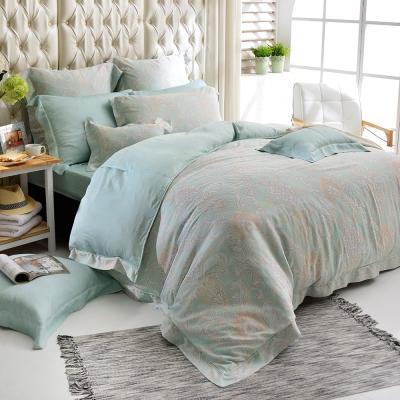 義大利La Belle 加大天絲防蹣抗菌吸濕排汗兩用被床罩組-蘿蔓微光