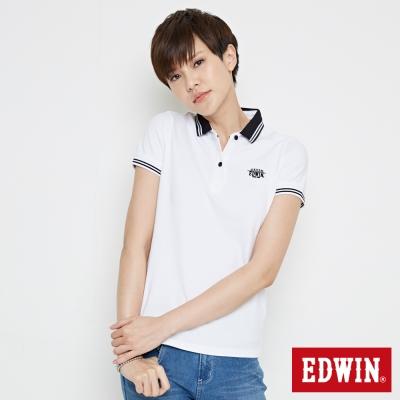 EDWIN-小領羅紋短袖POLO衫-女-白色