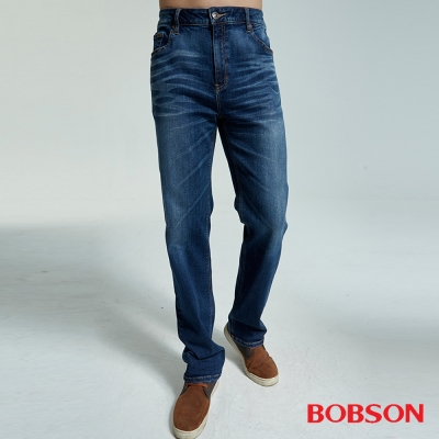 BOBSON 男款大彈力中直筒褲