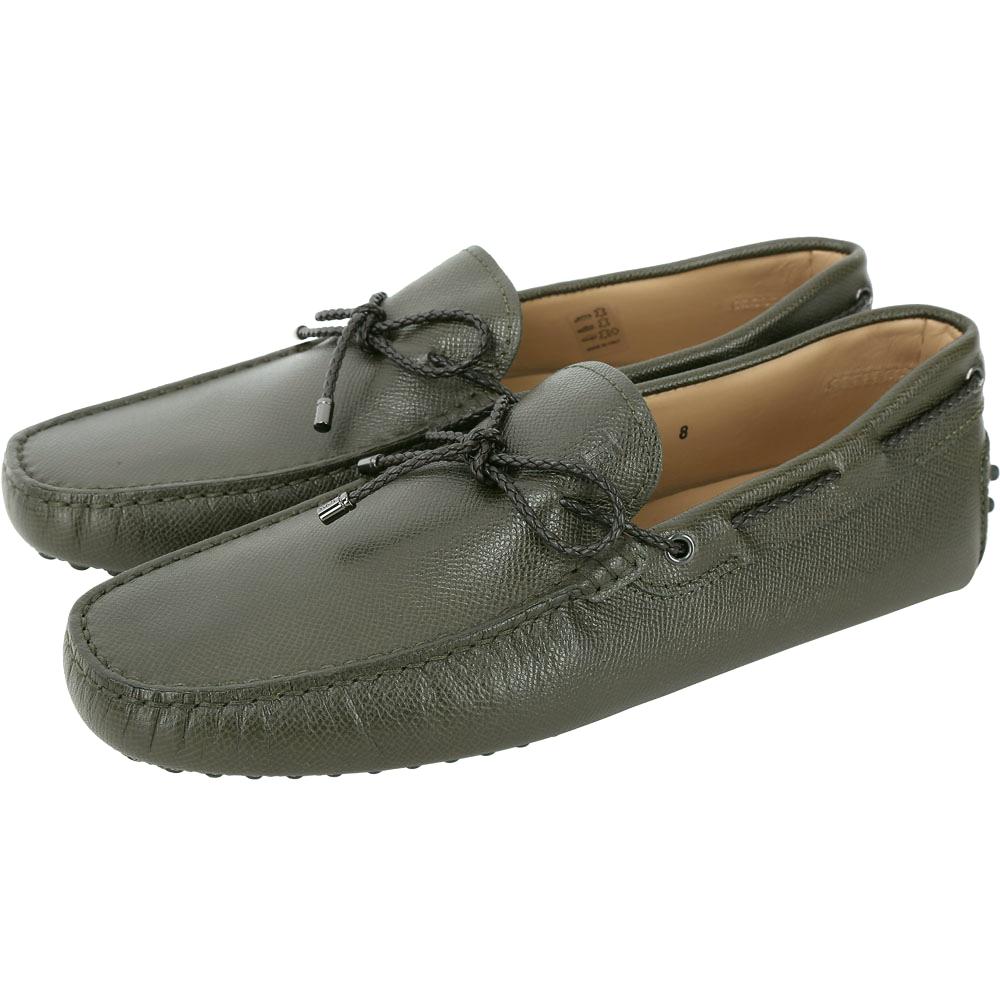 TOD'S Gommino Driving 編織綁帶豆豆鞋(男鞋/墨綠)