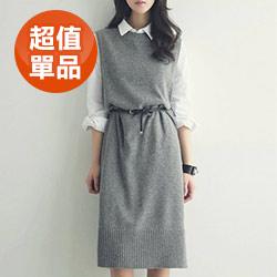 文青毛衣馬甲連身裙