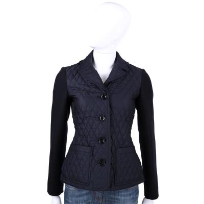 BURBERRY 深藍色菱格絎縫拼接外套