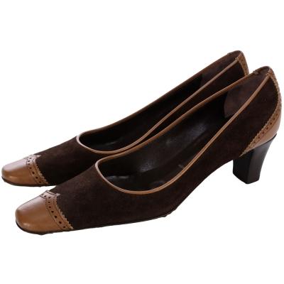 VICINI 咖棕色麂皮拼接低跟包鞋(展示品)