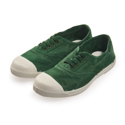 (女)Natural World 西班牙休閒鞋 刷色4孔綁帶基本款*綠色